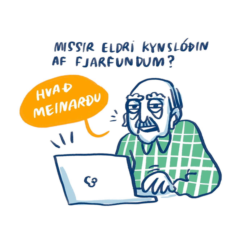 Mynd af gömlum herramanni við tölvu með allt sitt á hreinu varðandi tengingar